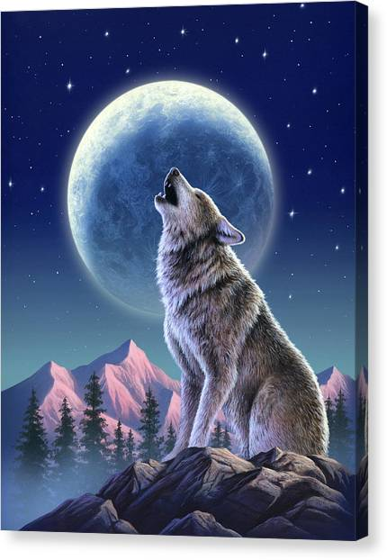 Howling Wolves Canvas Print - Wolf Moon by Jerry LoFaro