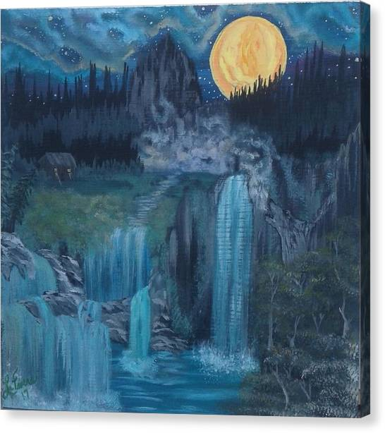 Wolf Moon Canvas Print - Wolf Of The Mountain  by Lori Lafevers