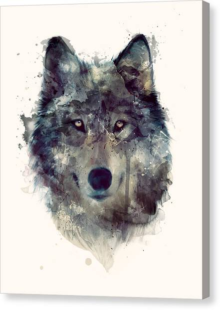 Illustration Canvas Print - Wolf // Persevere by Amy Hamilton