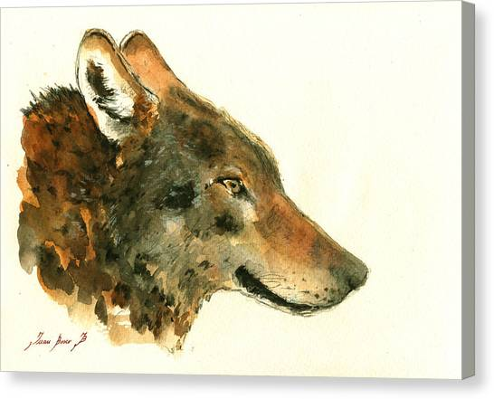 Howling Wolves Canvas Print - Wolf Portrait by Juan  Bosco