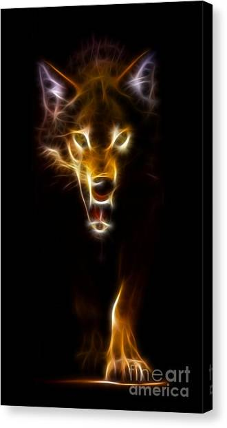 Howling Wolves Canvas Print - Wolf Ready To Attack by Pamela Johnson