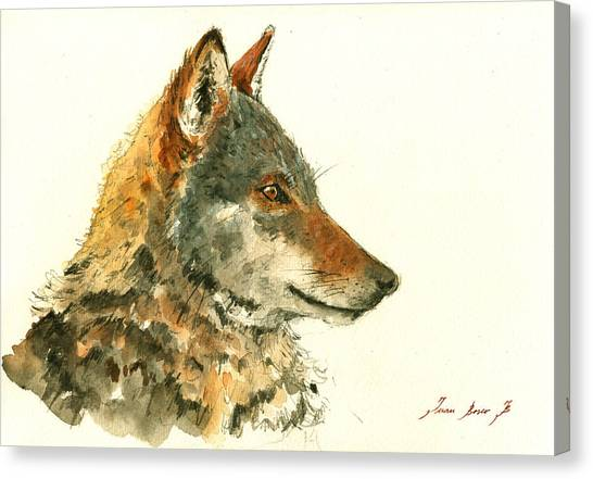 Howling Wolves Canvas Print - Wolf Watercolor by Juan  Bosco
