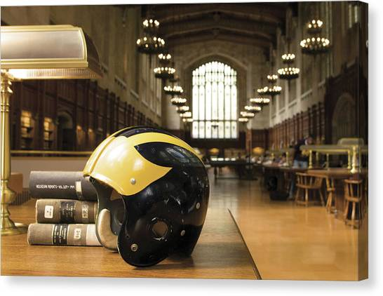 Wolverine Helmet In Law Library Canvas Print