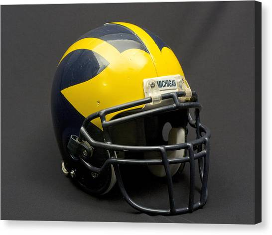 Canvas Print featuring the photograph Wolverine Helmet Of The 2000s Era by Michigan Helmet
