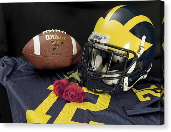 Wolverine Helmet With Roses, Jersey, And Football Canvas Print
