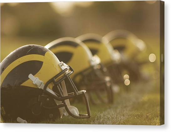 Canvas Print featuring the photograph Wolverine Helmets Sparkling In Dawn Sunlight by Michigan Helmet