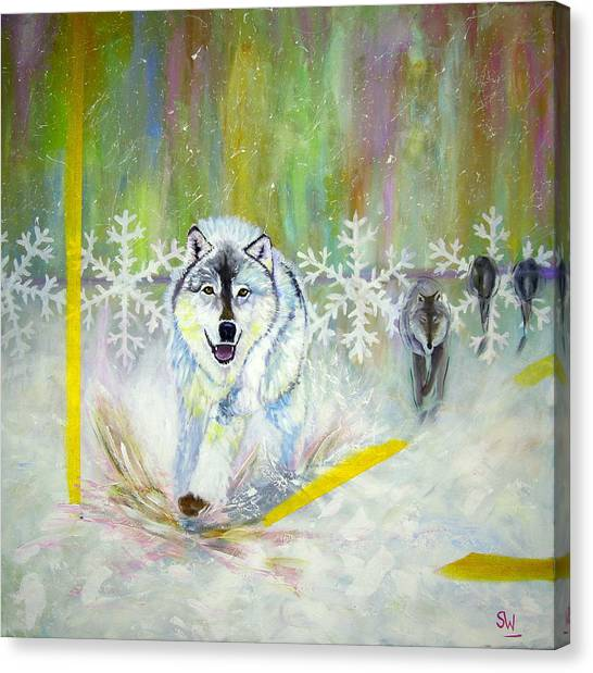 Wolves Approach Canvas Print