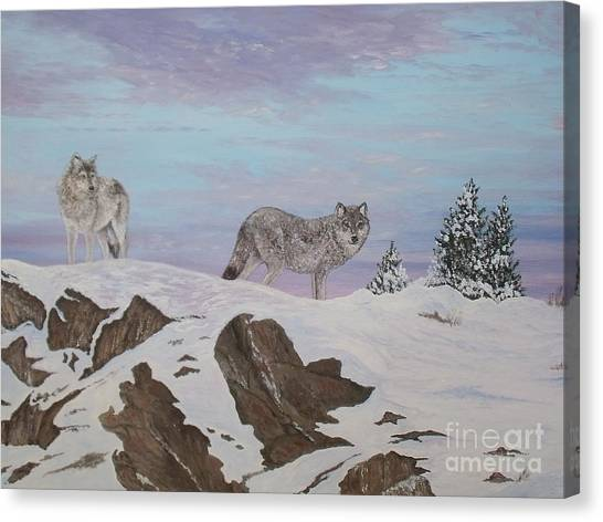 Wolves At Twilight Canvas Print