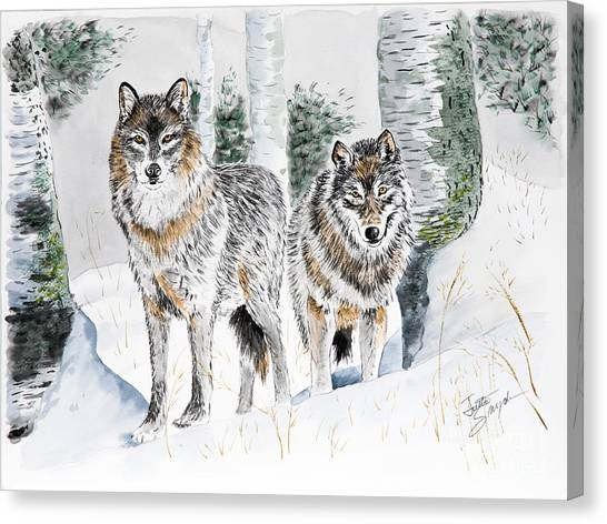 Wolves In The Birch Trees  Canvas Print