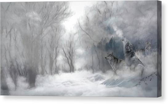 Wolves In The Mist Canvas Print