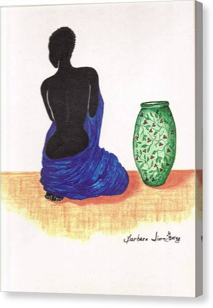 Woman And A Ginger Jar Canvas Print by Bee Jay