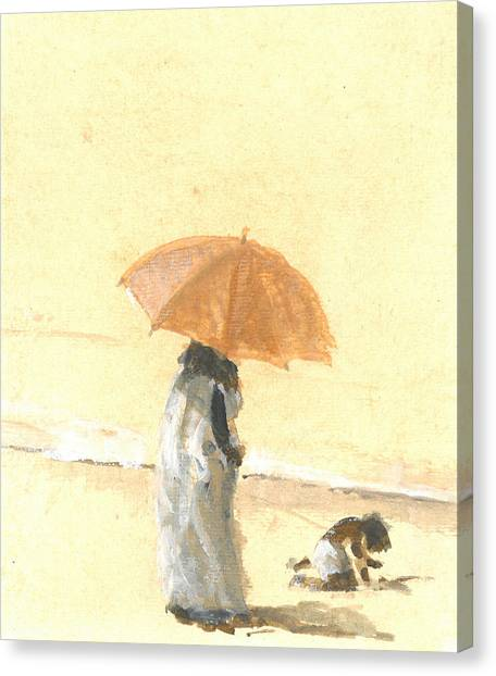Children On Beach Canvas Print - Woman And Child On Beach by Lincoln Seligman