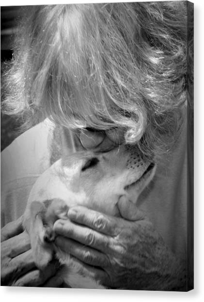 Woman And Dog Canvas Print