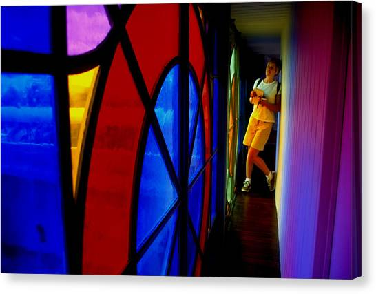 Woman And Stained Glass Canvas Print