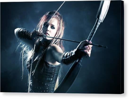 Gloves Canvas Print - Woman Archer Aiming Arrow by Johan Swanepoel