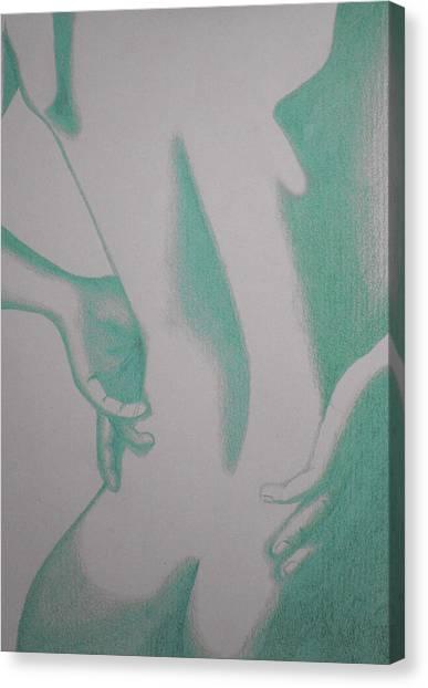 Woman Back Green Canvas Print by Fanny Diaz