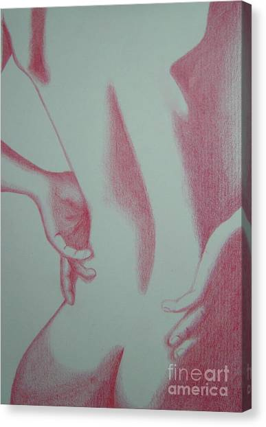 Woman Back Red Canvas Print by Fanny Diaz