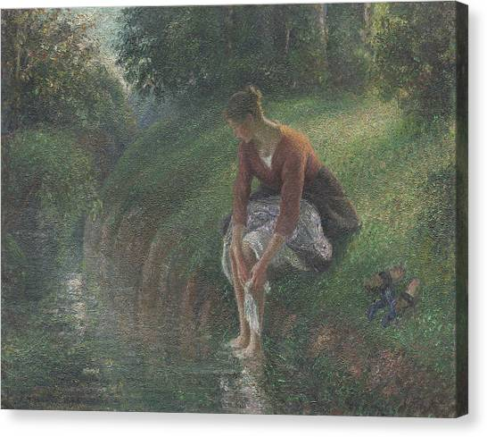 Camille Canvas Print - Woman Bathing Her Feet In A Brook by Camille Pissarro
