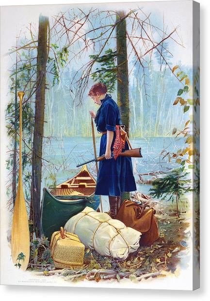 Woman Camper Cropped Canvas Print