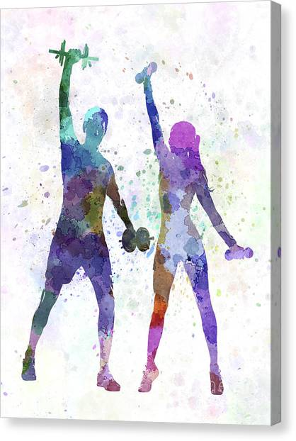 Weights Canvas Print - Woman Exercising With Man Coach by Pablo Romero