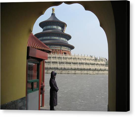 Woman Guarding The Temple Of Heaven Canvas Print by James Lukashenko