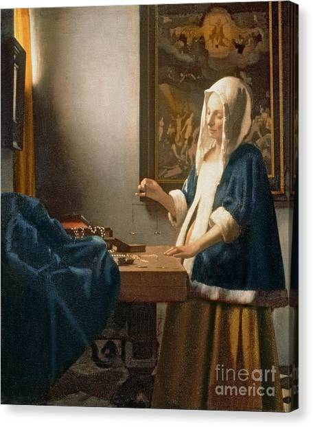 Desks Canvas Print - Woman Holding A Balance by Jan Vermeer