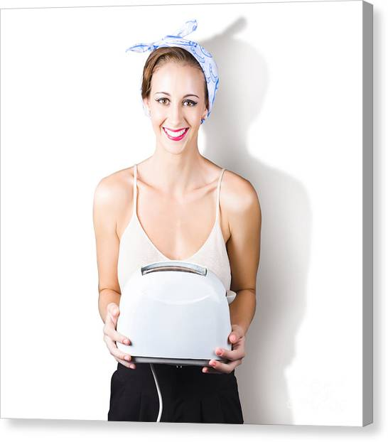 Brunch Canvas Print - Woman Holding Toaster by Jorgo Photography - Wall Art Gallery
