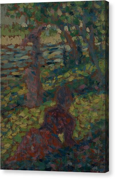Post-impressionism Canvas Print - Woman In A Park by Georges-Pierre Seurat