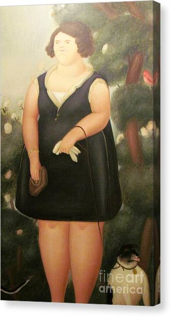woman in Black Botero Canvas Print