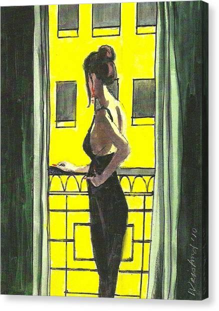 Woman In Black Dress On Balcony Canvas Print by Harry  Weisburd