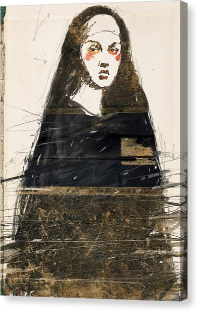Nuns Canvas Print - Woman In Black by H James Hoff