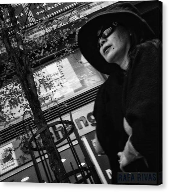 Women Canvas Print - Woman In Black  #woman #lady #hat by Rafa Rivas