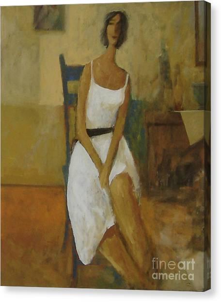 Woman In Blue Chair Canvas Print