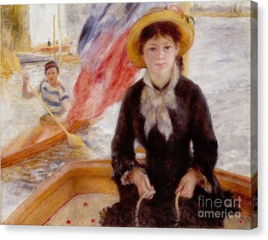 Watersports Canvas Print - Woman In Boat With Canoeist by Renoir