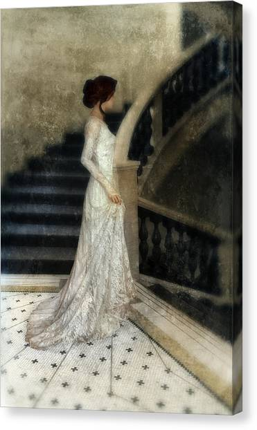 Wedding Gown Canvas Print - Woman In Lace Gown On Staircase by Jill Battaglia