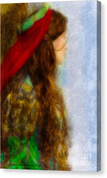 Woman In Medieval Gown Canvas Print