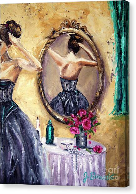Woman In Mirror Canvas Print
