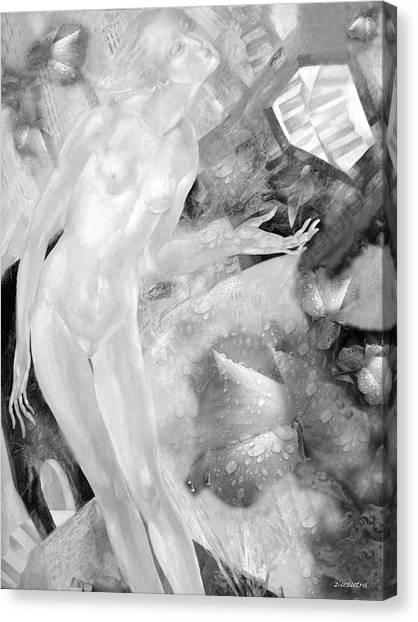 Woman In Rain Canvas Print by - Ziusutra