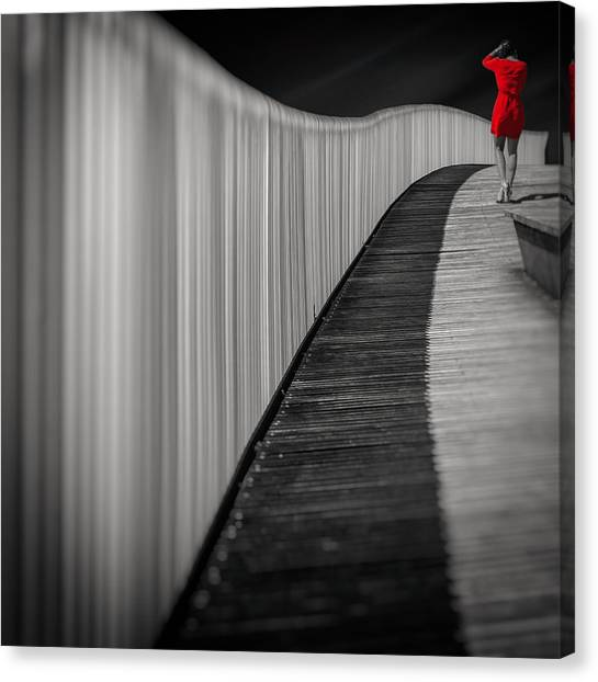 Street Canvas Print - Woman In Red by Marcoantonio