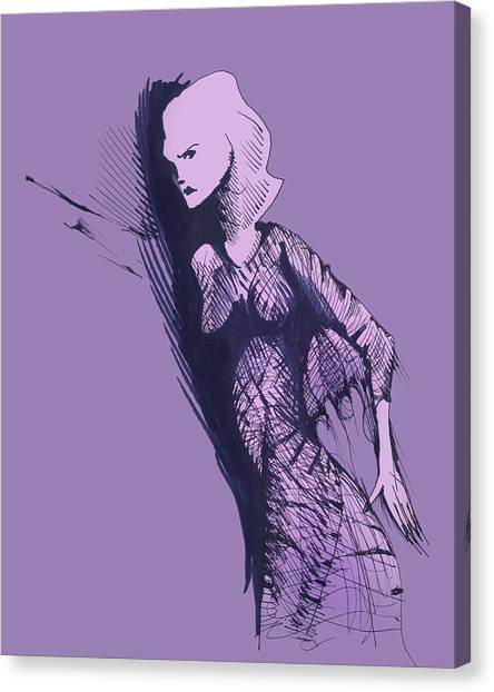 Canvas Print featuring the drawing Woman In Shadows by Keith A Link