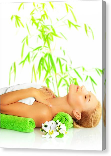 Woman In Spa Salon Canvas Print