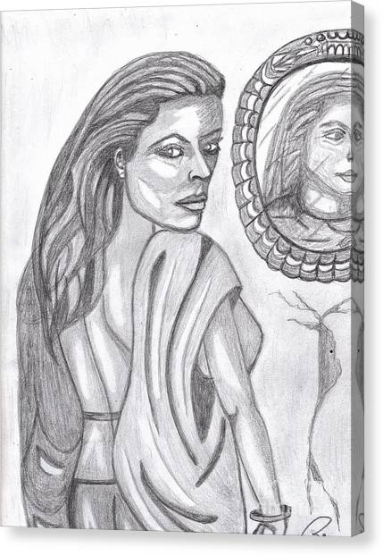 Woman In The Mirror Canvas Print by Richard Heyman