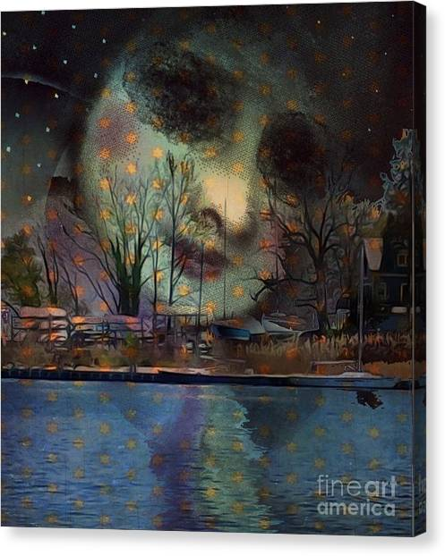 Woman In The Moon Canvas Print