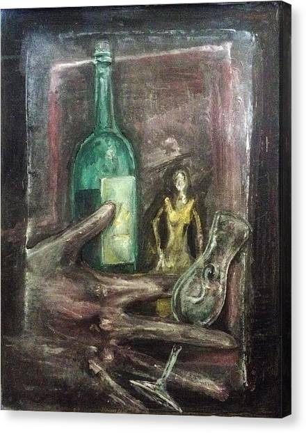 Canvas Print featuring the painting Woman In Yellow Dress by Keith A Link
