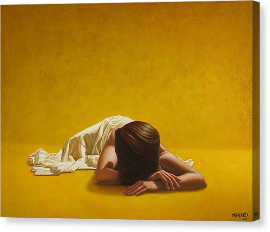 Nude Canvas Print - Woman In Yellow by Horacio Cardozo