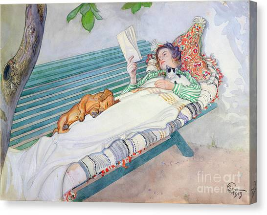 Pets Canvas Print - Woman Lying On A Bench by Carl Larsson