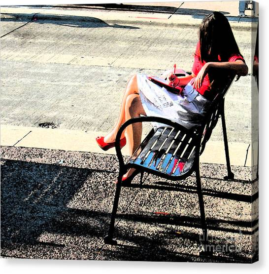 Woman On A Bench Canvas Print by Gary Everson