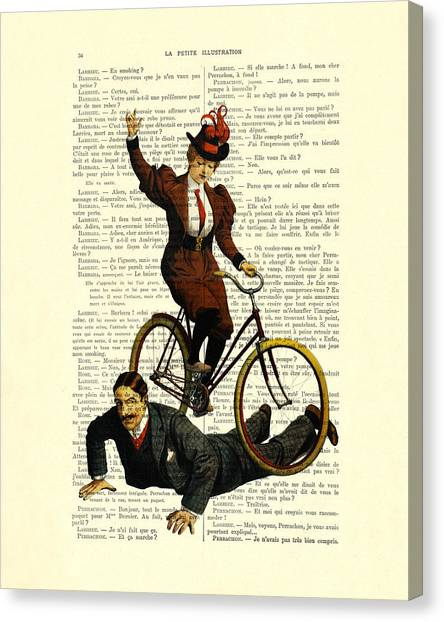 Media Canvas Print - Woman On Bicycle Riding Over Man by Madame Memento