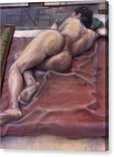 Woman On Blanket Canvas Print by John Clum