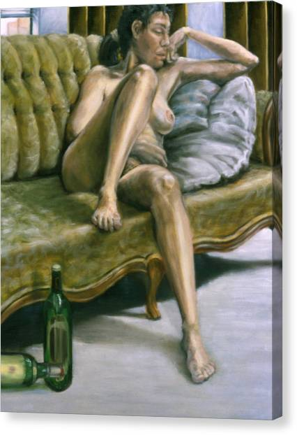 Woman On Green Sofa Canvas Print by John Clum